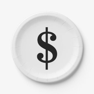 Dollar Sign | Simple Classic Alphabet Paper Plate