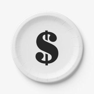 Dollar Sign | Simple Stencil Alphabet Paper Plate