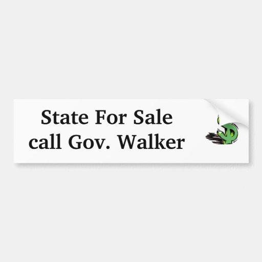 dollar-sign, State For Salecall Gov. Walker Car Bumper Sticker
