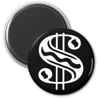Dollar Sign - White 2 Inch Round Magnet