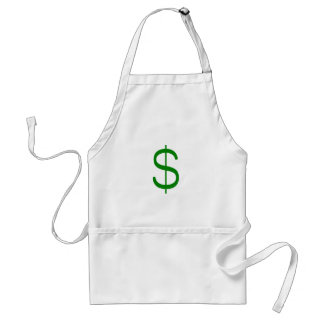 Dollar Sign$ Yellow Green Pink Adult Apron
