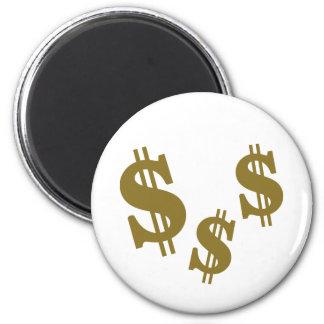 Dollar signs 2 inch round magnet