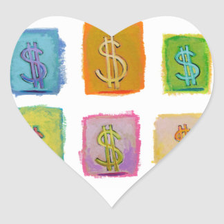 Dollar signs money wealth abundance economics art heart sticker