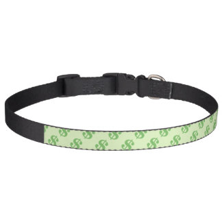 Dollar Signs on Green Pet Collar