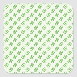 Dollar Signs on Green Square Sticker