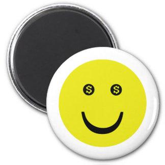 dollar smile icon 2 inch round magnet