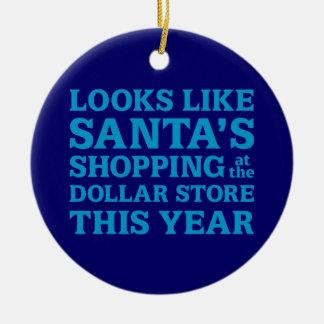 Dollar Store Santa Ceramic Ornament