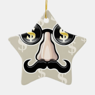 Dollar Sunglasses With nose and mustache Ceramic Ornament