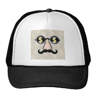 Dollar Sunglasses With nose and mustache Trucker Hat