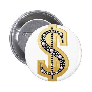 Dollar symbol in diamonds 2 pinback button