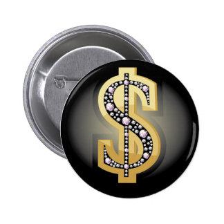 Dollar symbol in diamonds pinback button