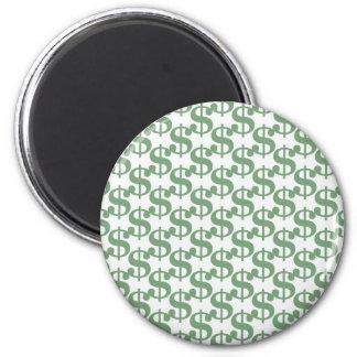 Dollar symbol pattern 2 inch round magnet