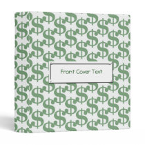Dollar symbol pattern 3 ring binder