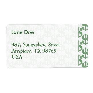 Dollar symbol pattern shipping label