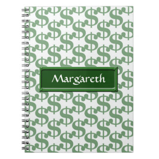 Dollar symbol pattern notebook