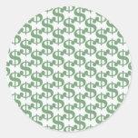 Dollar symbol pattern round stickers