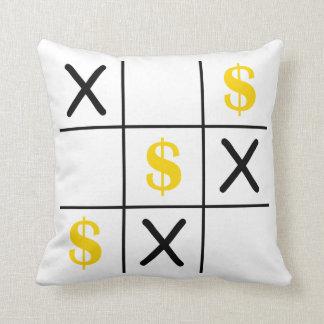 Dollar Tic Tac Toe Throw Pillow