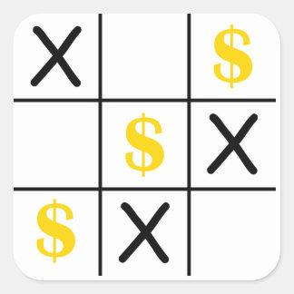 Dollar Tic Tac Toe Square Sticker