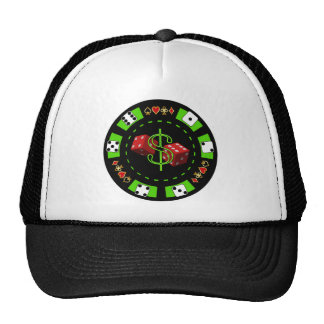 DOLLARS AND DICE POKER CHIP MESH HATS