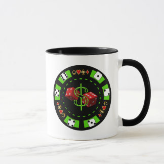 DOLLARS AND DICE POKER CHIP MUG