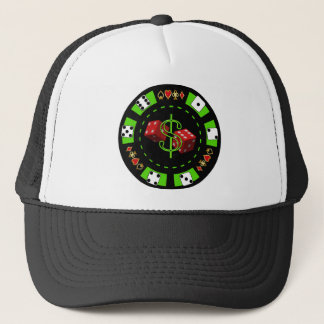 DOLLARS AND DICE POKER CHIP TRUCKER HAT