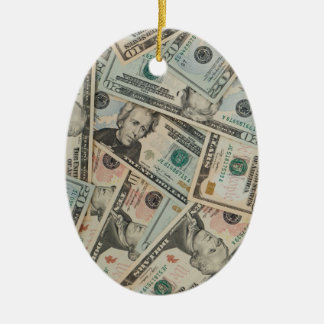 Dollars Background Christmas Ornaments