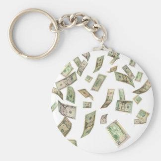 dollars falling keychain