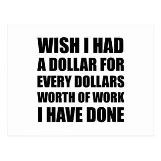Dollars Worth Of Work Postcard