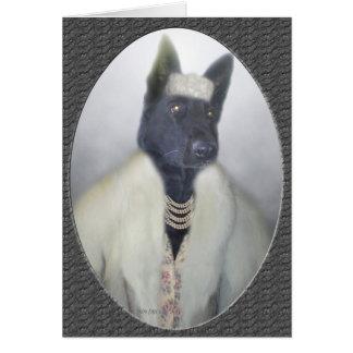 Dolled encima del perrito tarjeta de felicitación