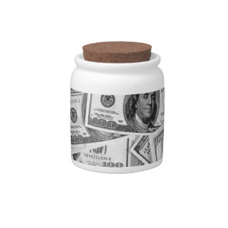 doller bills money stacks cash cents candy dishes