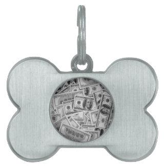doller bills money stacks cash cents pet ID tag