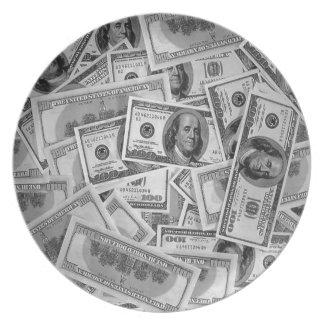 doller bills money stacks cash cents dinner plates