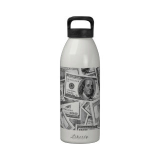 doller bills money stacks cash cents water bottles