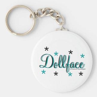 Dollface Basic Round Button Keychain
