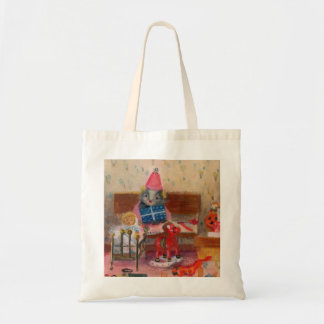 Dollhouse Birthday Mouse and Baby Budget Tote Bag