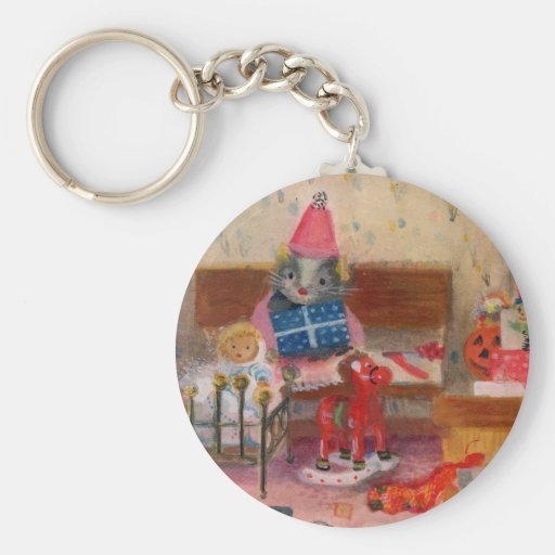 Dollhouse Birthday Mouse and Baby Basic Round Button Keychain