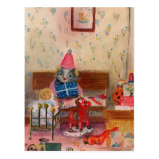 Dollhouse Birthday Mouse and Baby Postcard