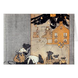 dollhouse y árbol de navidad de los ratones del tarjeta pequeña
