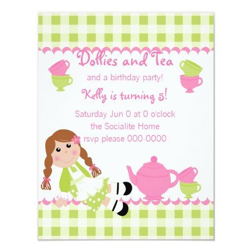 Dollies Tea Party 4.25x5.5 Paper Invitation Card