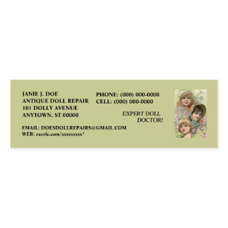 DOLLS DOLL BUSINESS CONTACT INFO  ~ BOOKMARK CARD Double-Sided MINI BUSINESS CARDS (Pack OF 20)