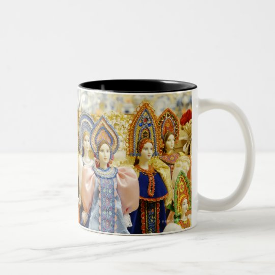 Dolls in traditional Russian costumes displayed Two-Tone Coffee Mug