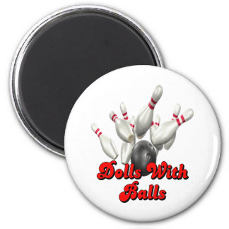 Dolls With Balls Bowling Magnets