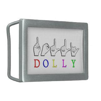 DOLLY  ASL FINGER SPELLED RECTANGULAR BELT BUCKLE