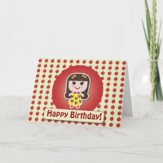 Dolly Bianca Red Greeting Card zazzle_card