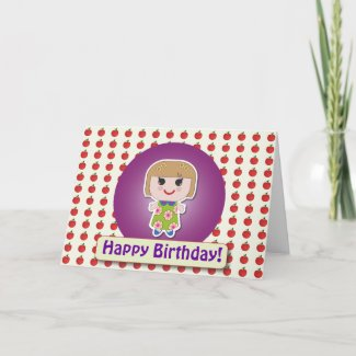 Dolly Christy Purple Greeting Card zazzle_card