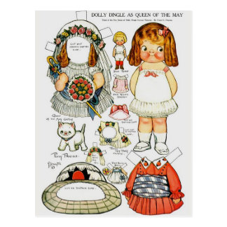 Dolly Dingle Queen of the May Paper Doll Postcard