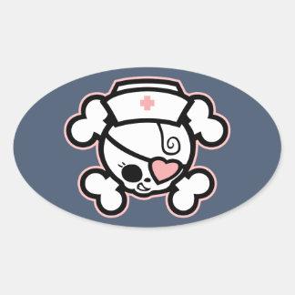 Dolly Heart, RN Oval Sticker