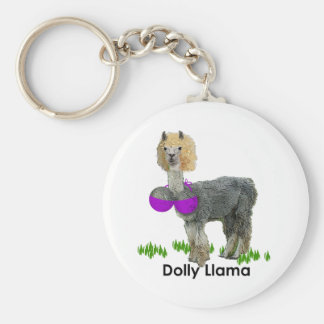 Dolly Llama Basic Round Button Keychain