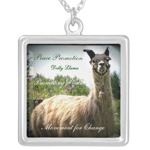 Dolly Llama Peace Necklace, Customizable