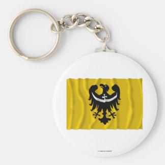 Dolnośląskie - una bandera que agita más baja de S Llaveros Personalizados